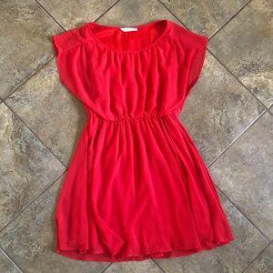 LUSH from Nordstrom flowy red chiffon dress